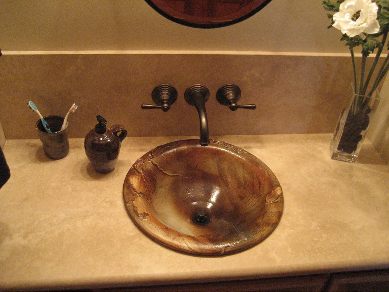Self Rimming Sink Set In Limestone Counter